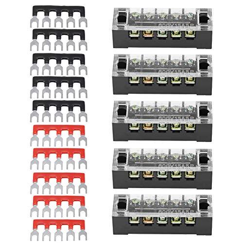 Tira de terminal de tornillo con fila doble 5 posiciones 600 V 15 A + 10 tira de barrera de terminal preaislada