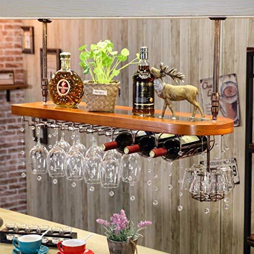 Weinregale, Weinregal Weinregale, Holz Schwimmdock Regale Built-in Acryl Stemware Hanger den Kopf gestellt hängende Dekoration Kristall Anhänger Weinglashalter mit 3 runden Flaschen-Racks for Bar Küch