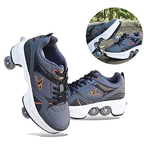 MLyzhe Zapatos De Rodillo Casual Zapatillas Uso Dual Caminar Patines Huir Patines De Cuatro Ruedas Rueda De Deformación Patines para Principiantes Hombres Mujeres,6
