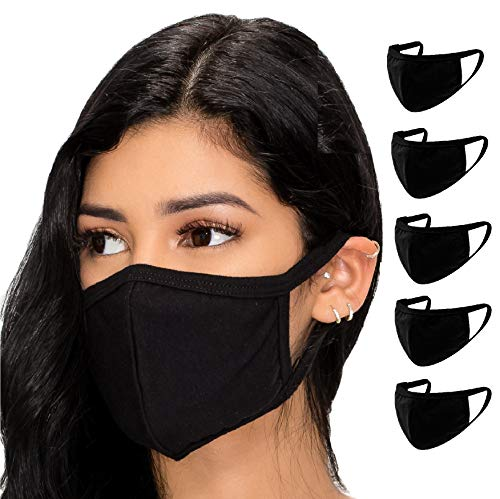 5 Pack Face Mouth Cotton Fabric Cloth Protect Adult Unisex Women Men Reusable Breathable Washable Comfort Safety for Dust Protection Made in USA