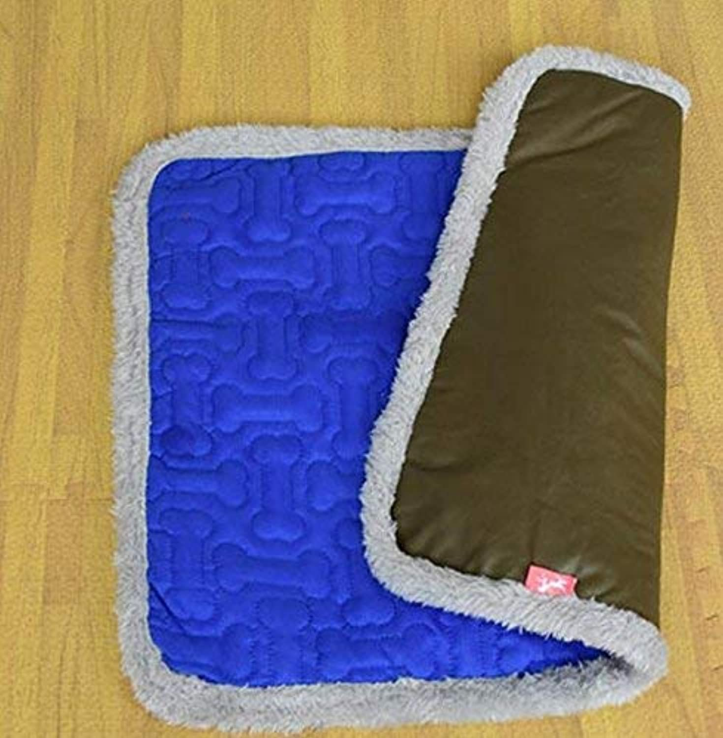 YQSMB Dual Use Pet Sleeping Mat Dog Cats Puppy Pad Cushion Bed(bluee,M) for Cat Dog
