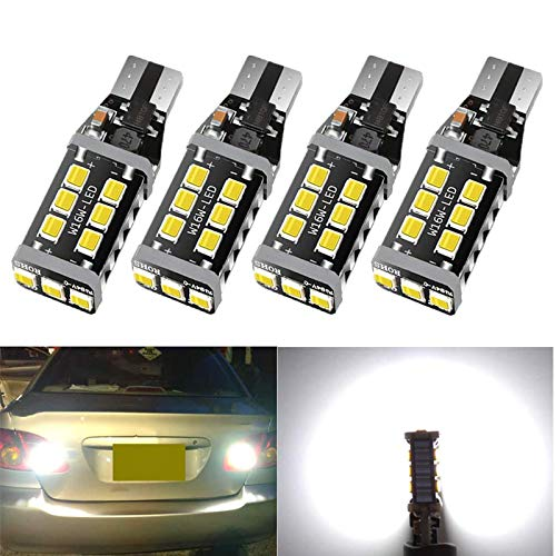 921 912 T15 LED Bulb Extremely Bright 1100 Lumen 15SMD Upgrade 2835 Chips, Canbus Error Free 921 912 T15 W16W LED Bulb, Replacement for Backup Reverse Lights 6500K Xenon White-4Pcs
