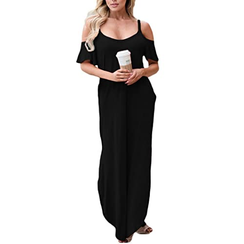 2aed87126f512b GOCHIC Women s Casual Cold Shoulder Spaghetti Strap Long Maxi Dress with  Pockets