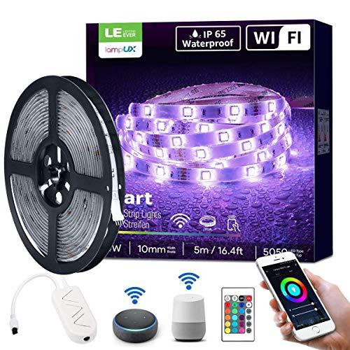 LE Striscia LED RGB 5M Intelligente WiFi, 150 LED 5050, Impermeabile IP65, Striscia Luminosa Compatibile con Alexa/Google Home, Kit Completo Trasformatore, Controller Intelligente e Telecomando