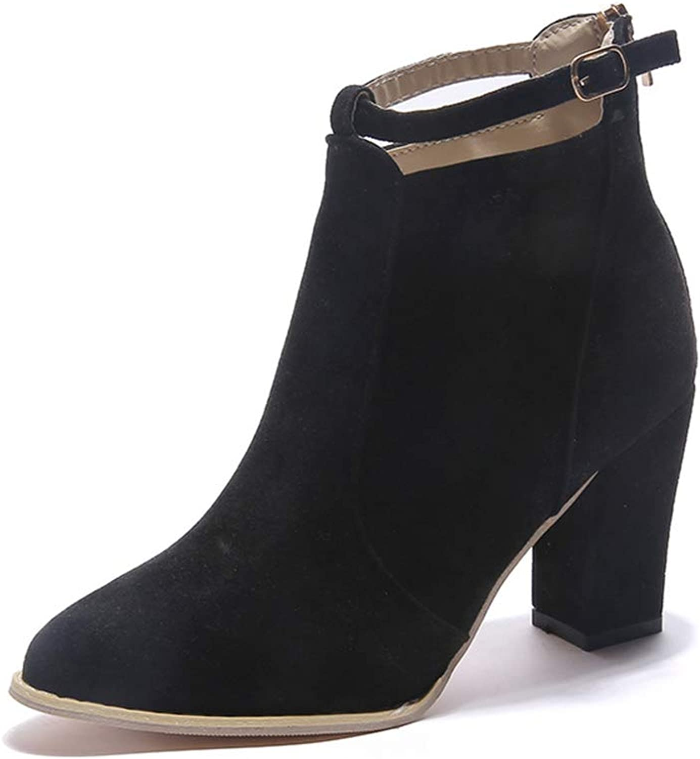 Smart.A Womens Stylish Buckle Strap Dress Ankle Bootie