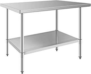 Sponsored Ad - 24 x 48 in Stainless Steel Prep Work Table Durable NSF Certified Kitchen Restaurant Table with Undershelf D...