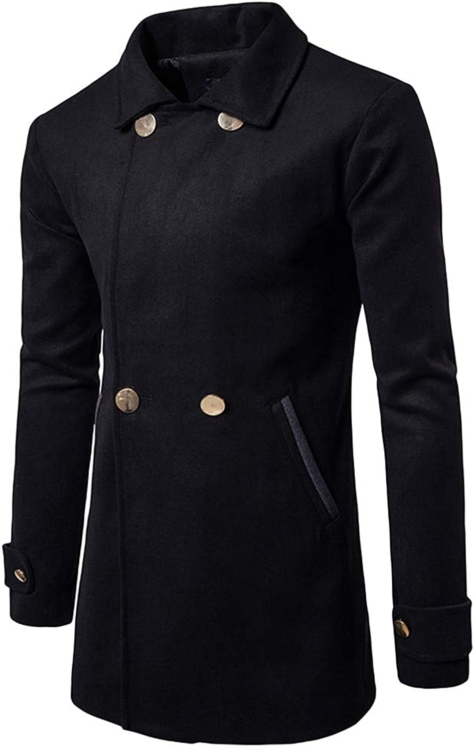 Jiayit Double Breasted Peacoat Men's Trench Coat Wool Business Winter Long Overcoat
