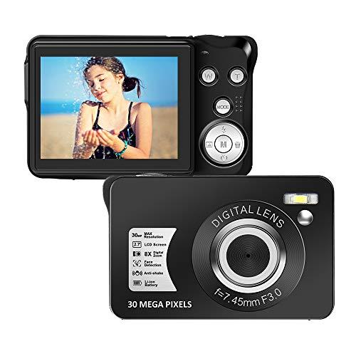 Digitalkamera 2,7 Zoll 1080P 30 Megapixel HD Fotoapparat Digitalkamera Wiederaufladbare Fotokamera Studenten Kamera Taschenkamera Kamera mit 8-Fach Zoom-Kompaktkamera für Anfängerfotografie