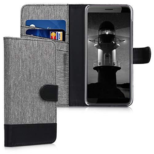 kwmobile Wallet Hülle kompatibel mit HTC Desire 12 - Hülle mit Ständer - Handyhülle Kartenfächer Grau Schwarz