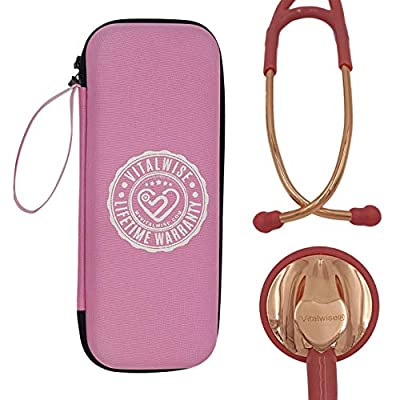 VITALWISE Heart Shaped Rose Gold and Soothing Pink 28 Inch Cardiology Stethoscope with Personalizable Spare Parts and Pink Case, Great for a Nurse, EMT, Vet, Doctor
