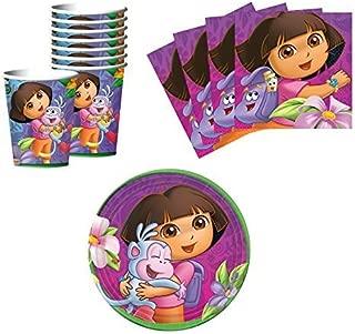 Designware Dora The Explorer Birthday Party Supplies Set Plates Napkins Cups Kit for 16
