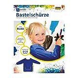 Idena 611183 - Bastelschürze für Kinder von 5 - 6 Jahren mit langen Ärmeln und Klettverschluss, perfekt zum Malen, Basteln, Kochen und Matschen, blau