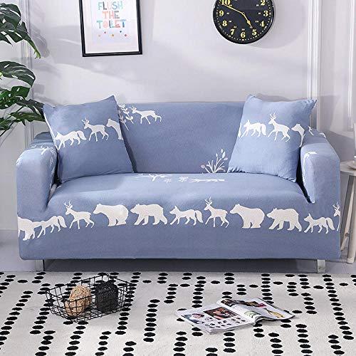 Funda Sofá 235-300 cm con Funda de Cojín de 4 Piezas 45x45 cm (Pack de 5), Poliéster Stretch Cubre Sofá Funda Protector Antideslizante Sofa Couch Cover (Los Dibujos Animados de Animales/4 Asientos)
