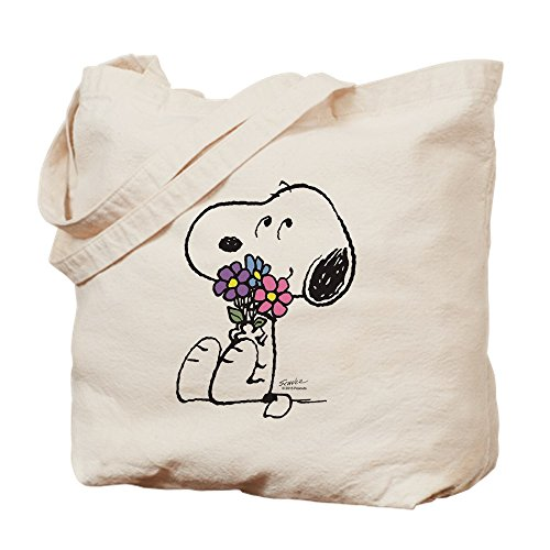 CafePress Springtime Snoopy Natural Canvas Tote Bag, Reusable Shopping Bag