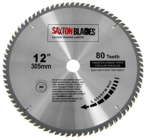 TCT30580T - Hoja de sierra circular de madera Saxton TCT, 305 mm x 30 mm x 80 t, para Bosch Makita Dewalt