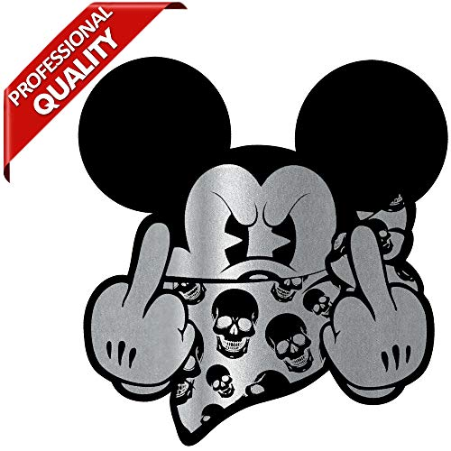 Biomar Labs® 2 x Pegatinas Vinilo Autoadhesivo Divertido Mouse Dedo Medio Plata Dibujos Animados...