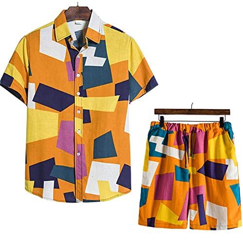 Conjunto de traje de 2 piezas de los hombres ' s impresión floral cuello de vuelta camisa de manga corta + pantalones cortos para verano