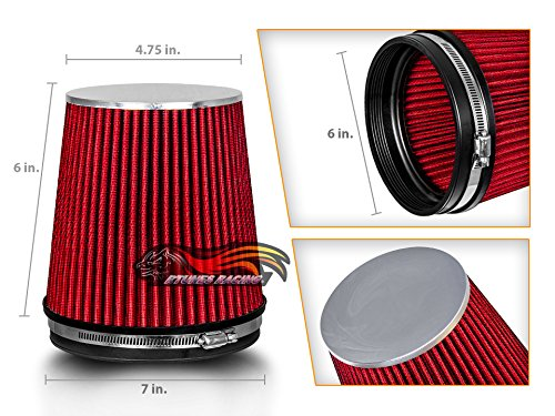 """RED 6"""" 152 mm Inlet Short Truck Cold Air Intake Cone Replacement Performance Washable Clamp-On Dry Air Filter (6"""" Tall)"""