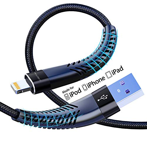 [Apple MFi Certified] 2Pack 6ft iPhone Charger Cable,Long Lightning Cable 6 Foot, High Fast 6 Feet iPhone Charging Cable Cord with Metal Connector for iPhone 11/11Pro/11Max/XS/XR/XS Max/8/7/6/5S.Black