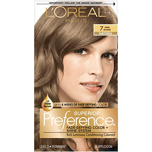 L'Oreal Paris Superior Preference Fade-Defying + Shine Permanent Hair Color, 7 Dark Blonde, Pack of 1, Hair Dye