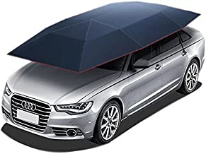 Reliancer Car Tent Semi-automatic Hot Summer Car Umbrella Cover Portable Movable Carport Folded Automobile Protection Sun Shade Anti-UV Canopy Sun-proof Shelters SUV(Manual Blue)