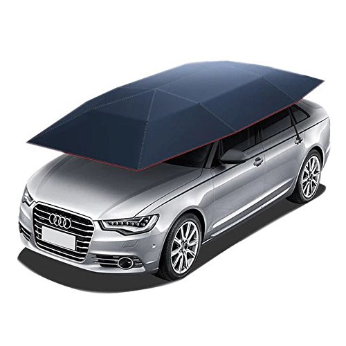 RELIANCER Car Tent Semi-Automatic Hot Summer Car Umbrella Cover Portable Movable Carport Folded Automobile Protection Sun Shade Anti-UV Canopy Sunproof Shelters SUV(Silver)