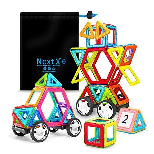 NextX Magnetische Bausteine Magnetspiel Set Pädagogische Bauklötze Spielzeug Geschenk für Kinder (46-Stück)