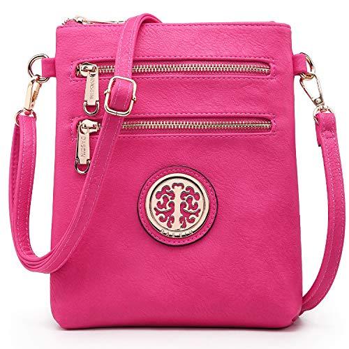 Dasein Medium Crossbody Bags for Women Handbag Lightweight Crossbody Purses with Multi Pockets (Fuchsia)
