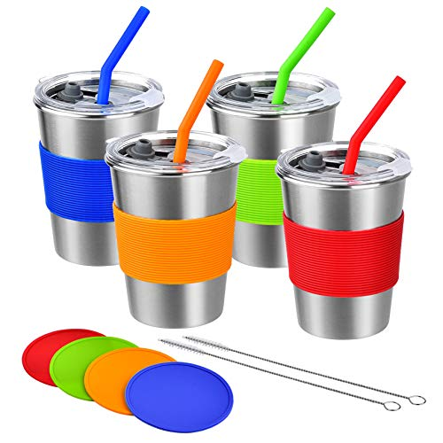 Kids Cups with Straw and Lid Spill Proof,12oz Stainless Steel Drinking Tumbler with Coasters,Unbreakable Water Glasses,Eco-Friendly BPA-Free Metal Sippy Mug for Adults,Children and Toddlers