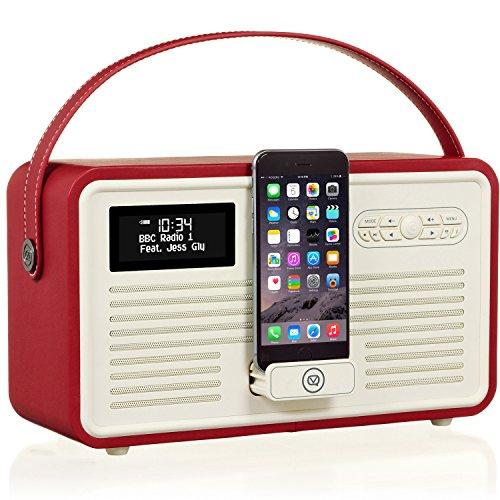 VQ Retro Mk II DAB/DAB+ Digital- und FM-Radio mit Bluetooth, 8-poliges Dock und Weckfunktion - Rot