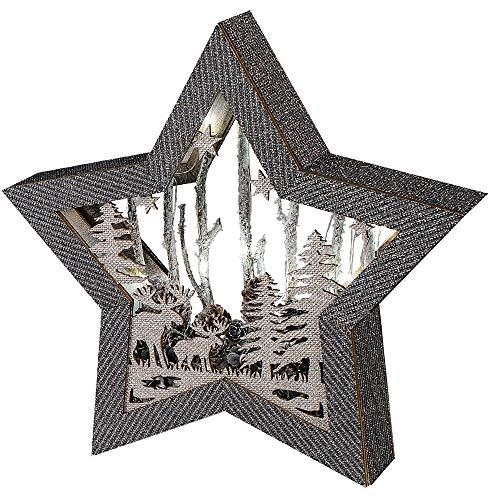 Formano Deko-Stern aus Holz, 34cm, mit LED-Licht, Sortiert, 1 Stück, Grau-Silber, mit Batteriebox + Timer