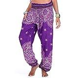 EVFIT Hippie Pantalon Thai Yoga Sport Loose Été Femme Pantalons Boho Retro Patterned Faisceau Lanterne Danse Pantalons (Color : Purple, Size : One Size)