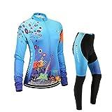 (Cojín 3D)(traje tamaño:M) manga ciclismo ropa para transpirable maillot rompevientos los chaleco de Moda larga rendimiento sudo Jerseys mujer