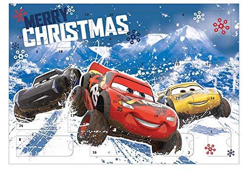 Adventskalender für Kinder mit 24 Schreibwaren Überraschungen, Cooles Disney Pixar Cars Motiv, ca. 45 x 32 x 3 cm