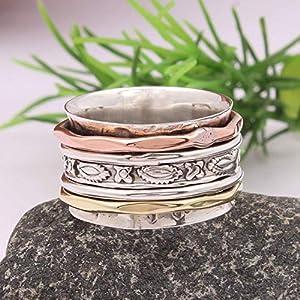 Meditationsringe, Spinnerringe, Silberringe für Frauen, Spinning Ring for Women, 925 Sterling Silver Spinner Band Rings…