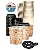 4 Ounce Disposable Espresso Paper Hot Cups with Black Lids - 50 sets - Print - Small Portion Sample Shots with Coffee Stencil