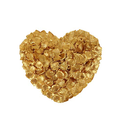 Neo LOONS 2000 Pcs Artificial Silk Rose Petals Decoration Wedding Party Color Gold