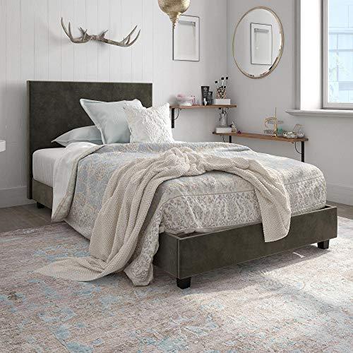 DHP Carley Upholstered Bed, Twin, Gray Velvet