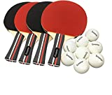 Ping Pong Paddle Set of 4 Paddles & 8 Balls Table Tennis Racket & Ping Pong Balls for Adults, Kids and Family,...