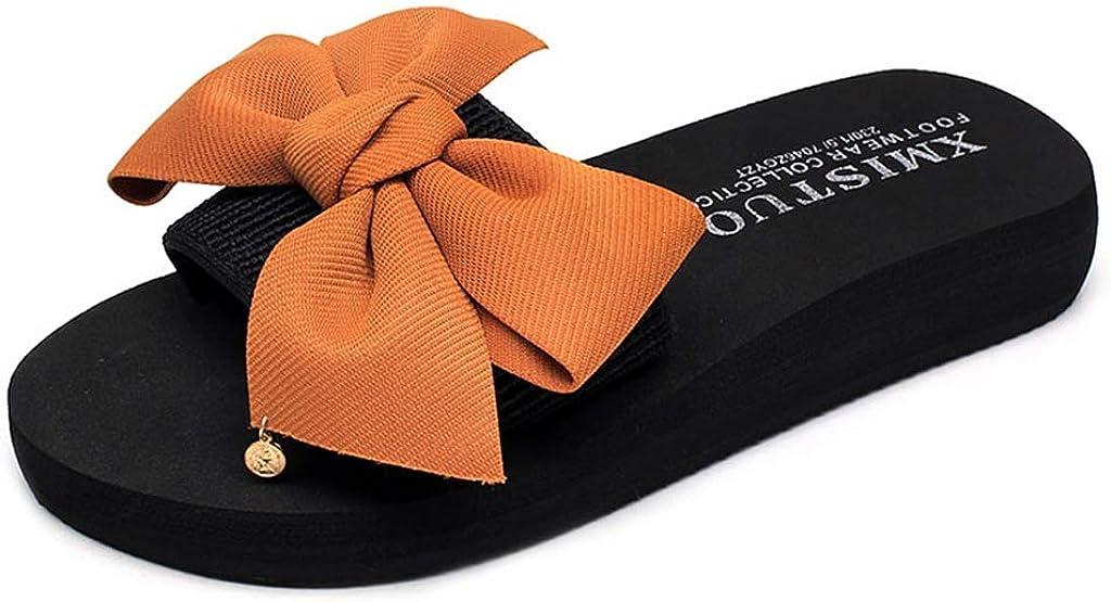 MIOKE Women's Bowtie Wedge Slide Sandals Fashion High Heel Platform Comfort Anti-Slip Summer Beach Sandal