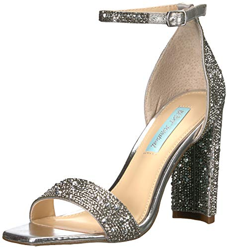 Betsey Johnson Blue Women's SB-RINA Heeled Sandal, Silver, 8 M US
