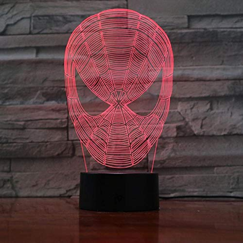 Luz nocturna 3D con mando a distancia de Spiderman, adecuada para la decoración familiar del salón, la habitación o la habitación de los niños.