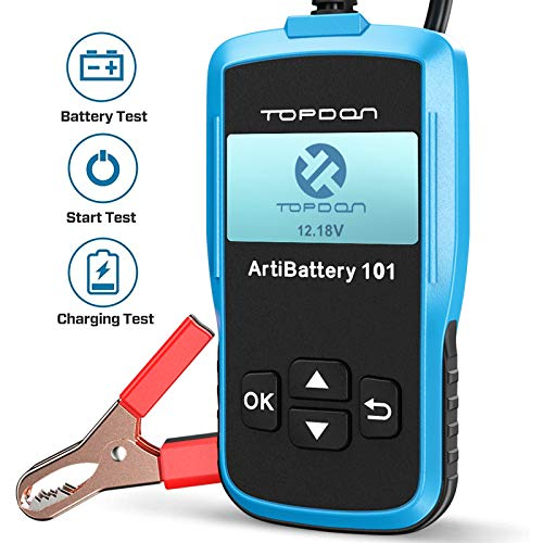 TT TOPDON Car Battery Tester - 12v Car Battery Load Tester on Cranking Charging Systems, AB101 100-2000 CCA Alternator Analyzer Automotive for Cars/SUVs/Light Trucks with Flooded AGM Gel Types