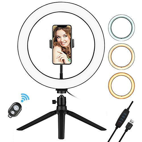 Andoer 10 inch LED Selfie Ring Light with Tripod Stand Phone Holder Remote Control 3200K-5500K Dimmable Table Camera Light Lamp 3 Light Modes 10 Brightness Level for YouTube Video Photo Studio Live