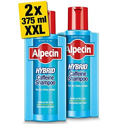 Champú Alpecin Hybrid 2x 375ml   Champú natural para el crecimiento del cabello con cuero cabelludo sensible y seco   Energizante para cabello fuerte   Cuidado del cabello para hombres