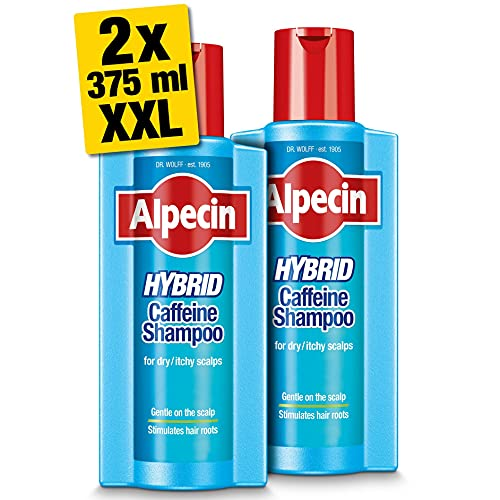 Alpecin Hybrid Shampoo 2x 375ml | Natural Hair Growth Shampoo for Sensitive...