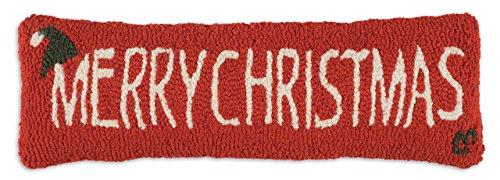"Chandler 4 Corners Artist-Designed Merry Christmas Hand-Hooked Wool Decorative Christmas Throw Pillow (8"" x 24"")"