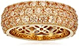 Yellow-Gold-Plated Sterling Silver 3 Row Pave Ring set with Round Swarovski Zirconia (3.45 cttw), Size 7