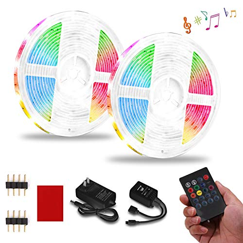 LED Strip Lights, PATIOPTION 32.8FT RGB Light Strips, Music Sync Color Changing, Rope Light SMD 3528 LED Tape, 20Key IR Remote Controller Flexible Strip for Home Party Bedroom DIY Party Indoor Outdoor