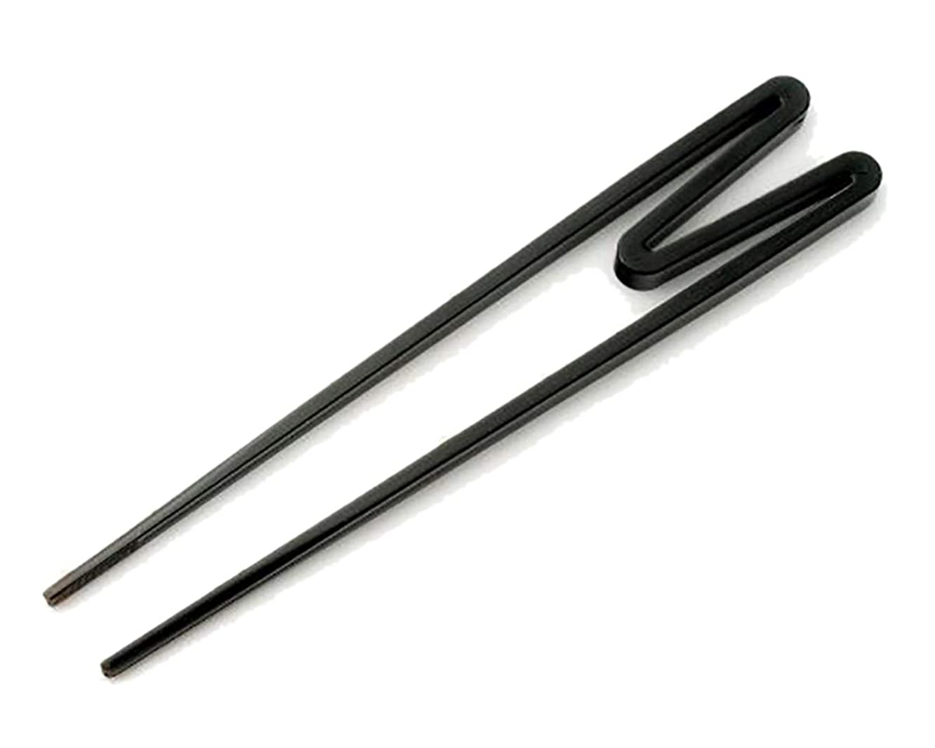 Reusable Black Plastic Training Chopsticks for Kids, 9 Inches